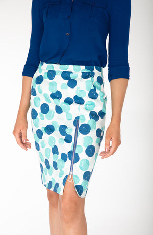 Pencil Skirt | Stretch Cotton | Blue Green Spots | Fun and Feminine Women's Fashion Online Australia