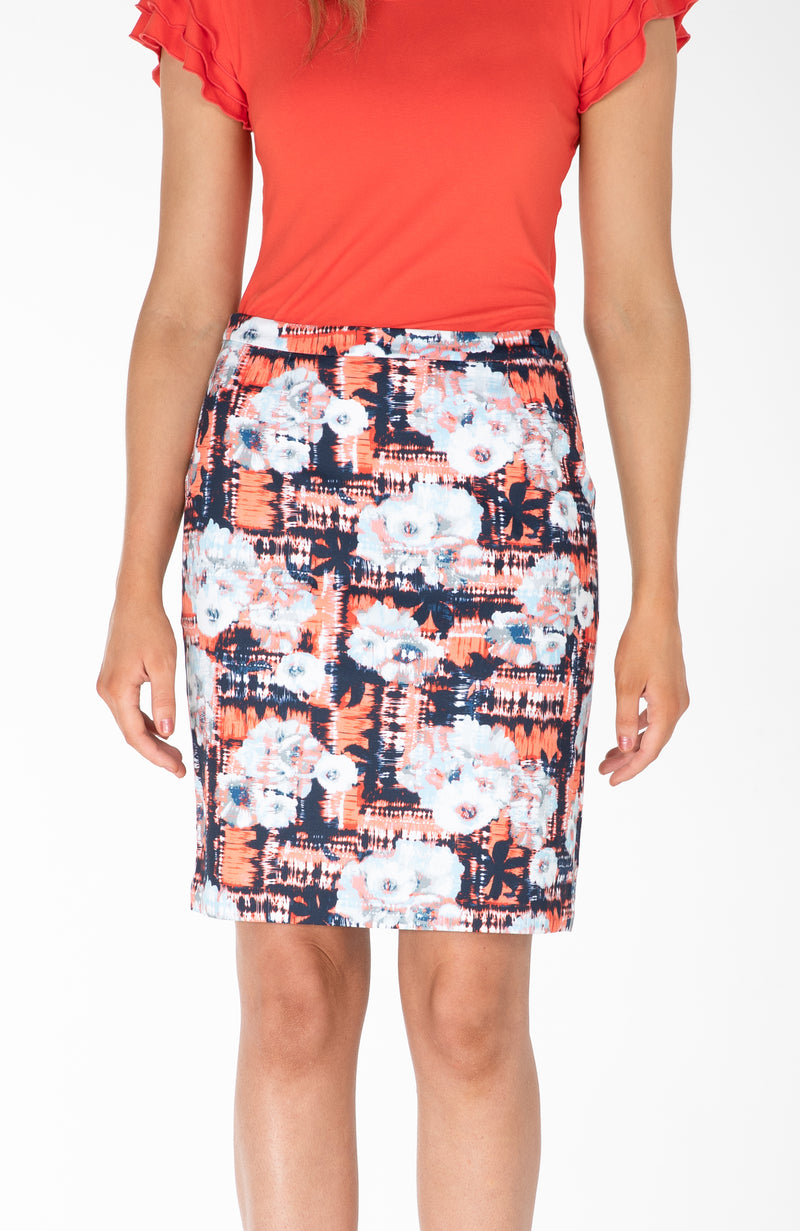 Modest Fashion Label Australia | Bright Abstract Navy Orange Floral Pencil Skirt | Cousin Billie