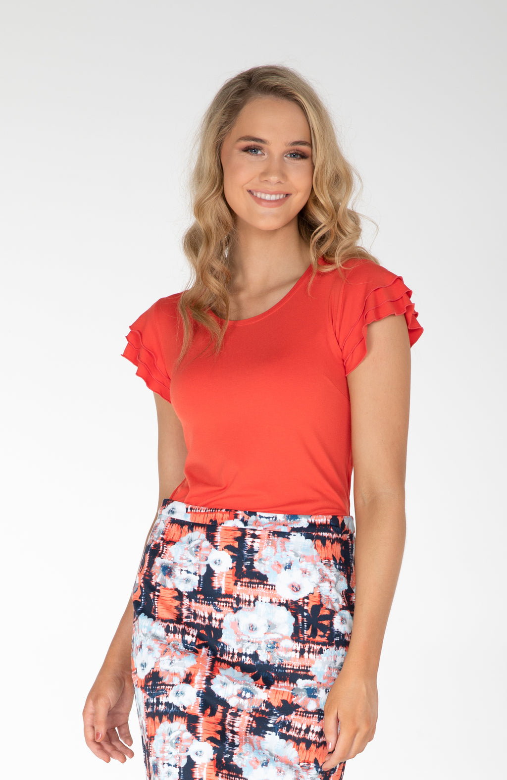 Frilled Sleeve Top | Orange | Fun and Feminine Women's Fashion Online Australia