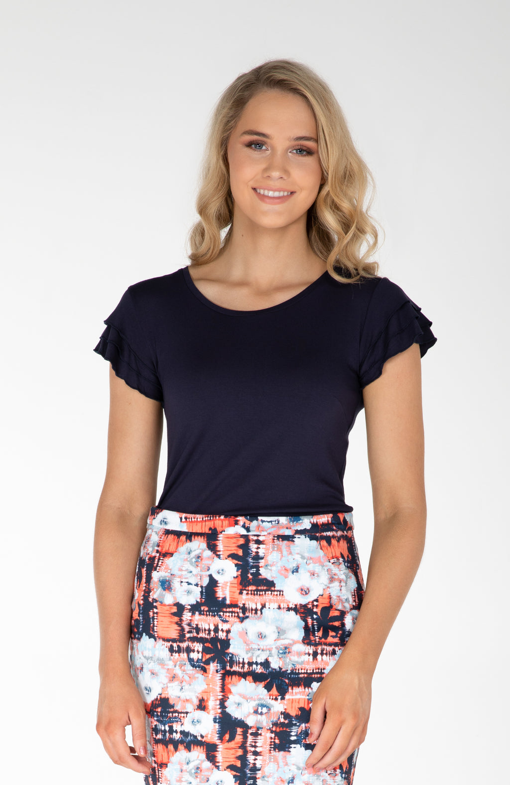 Modest Fashion Label Australia | Navy Orange White Frill Sleeve Top | Cousin Billie