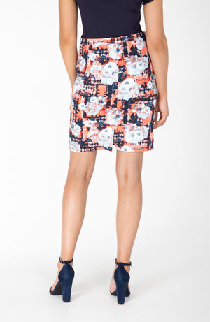 Pencil Skirt | Navy and Orange | Stretch Cotton | Fun and Feminine Women's Fashion Online Australia