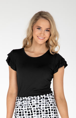 Black Frilled Sleeve Elegant Basic Summer Top | Cousin Billie
