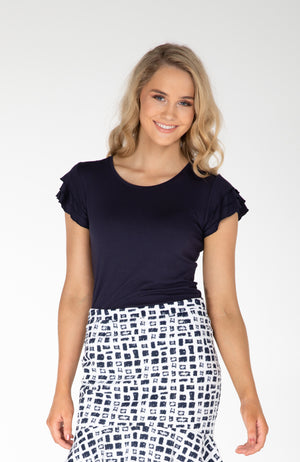 Ally Frilled-Sleeve Top - Navy Re-Stock PRE-ORDER