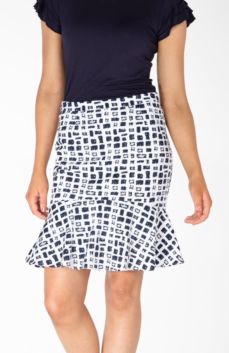Modest Fashion Label Australia | Navy White Frilled Pencil Skirt Stretch Cotton | Cousin Billie