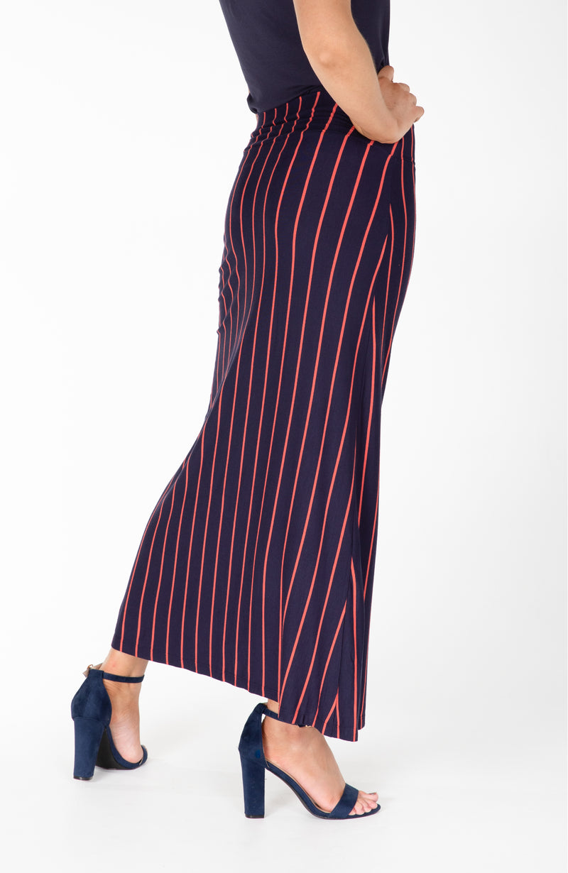 Modest Fashion Label Australia | Vertical Stripe Navy Orange Maxi Skirt | Cousin Billie
