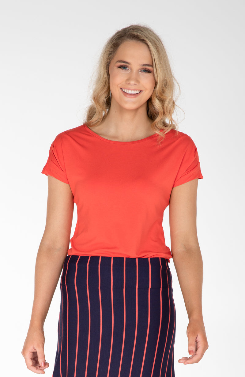 Pleat Sleeve Top | Orange| Fun and Feminine Women's Fashion Online Australia