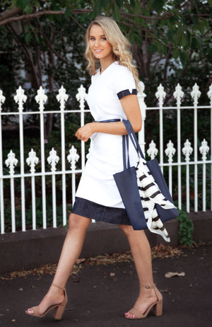 Modest Fashion Australia | White and Navy Pencil Dress | Cousin Billie