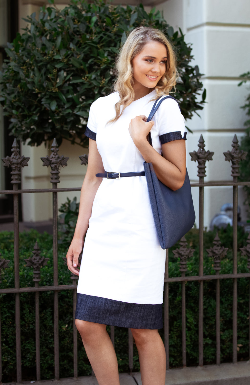 Modest Fashion Label Australia | White and Navy Nautical Corporate Pencil Denim Dress | Cousin Billie