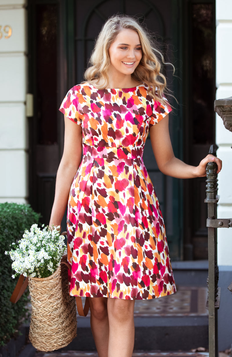 Fit and Flare Dress | Fun Bright Pink Abstract | Fun and Feminine Women's Fashion Online Australia