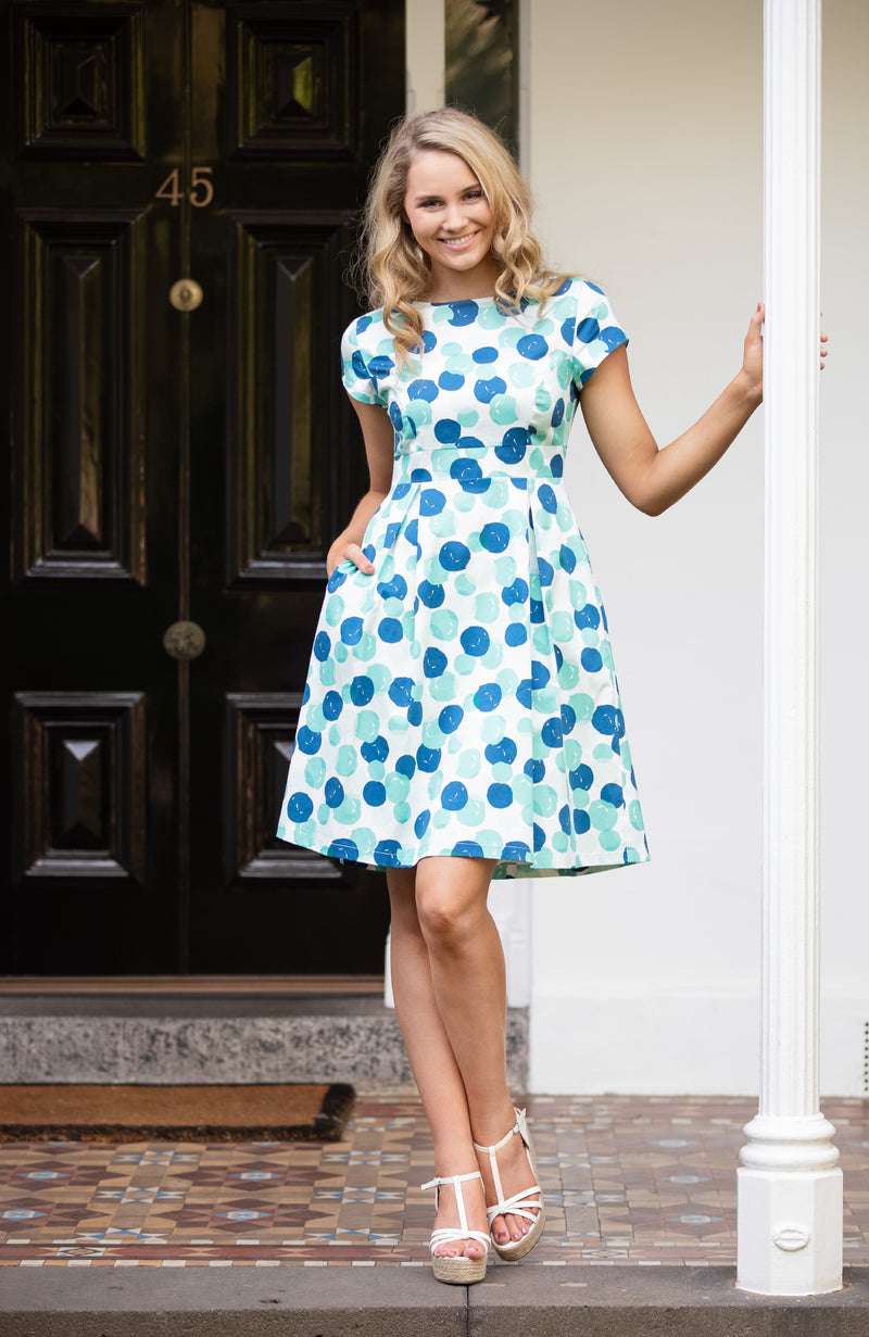 Modest Fashion Label Australia | Blue Green Aqua Spotted Polka Dot Fit and Flare Dress | Stretch Cotton | Cousin Billie