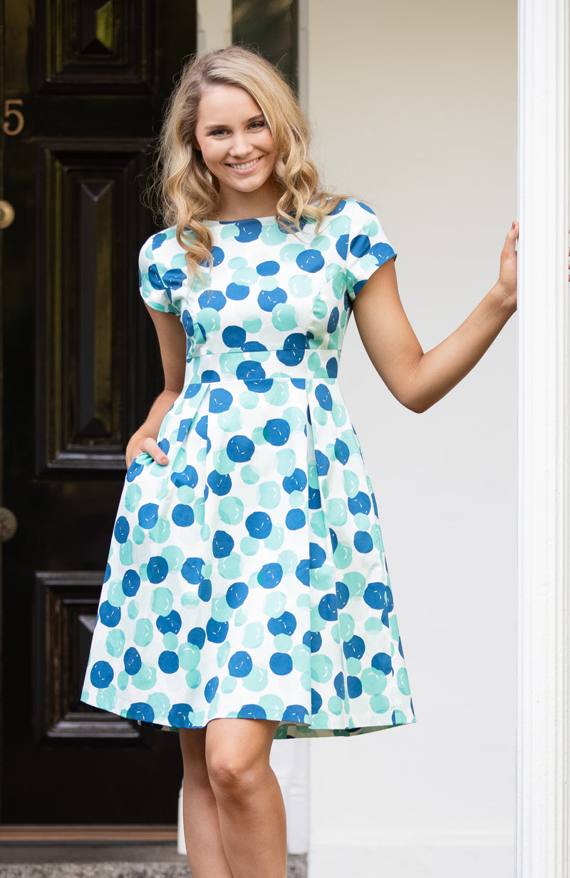 Fit and Flare Dress | Blue Green Spots | Fun and Feminine Women's Fashion Online Australia