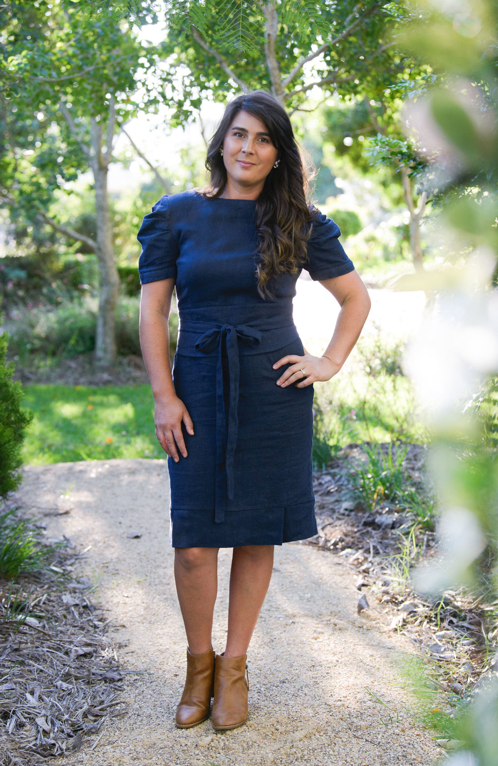 Jaynie Pleated Linen Dress - Navy