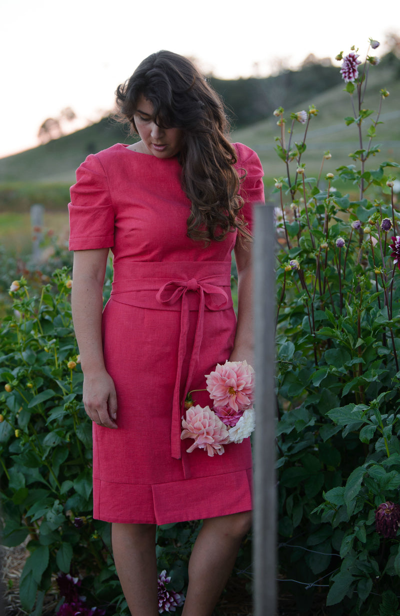 Jaynie Pleated Linen Dress - Pomegranate