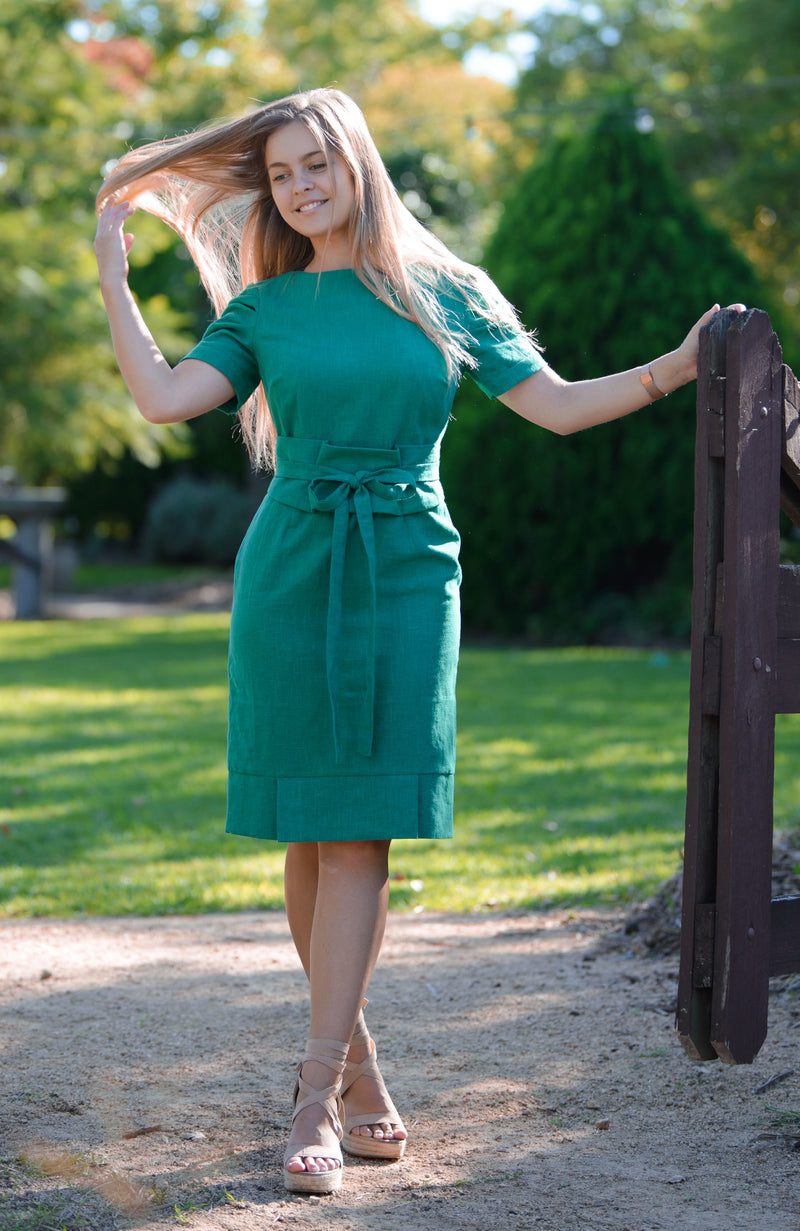 Jaynie Pleated Linen Dress - Shamrock