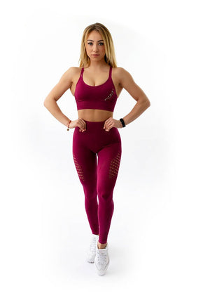 PATRIOT ATHLETICS Frauen Push Up Leggins und Sport BH burgundy Kombi