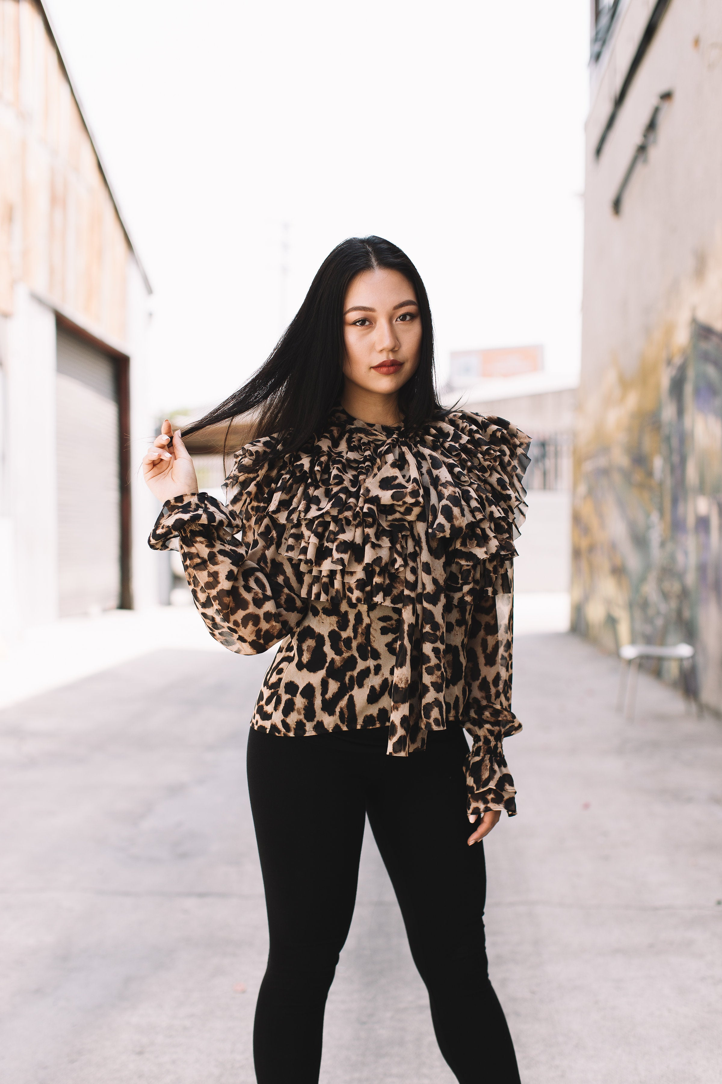 825b1038ace Leopard Print Layered Ruffle with Tie Neck Blouse -  TI044-F02 ...
