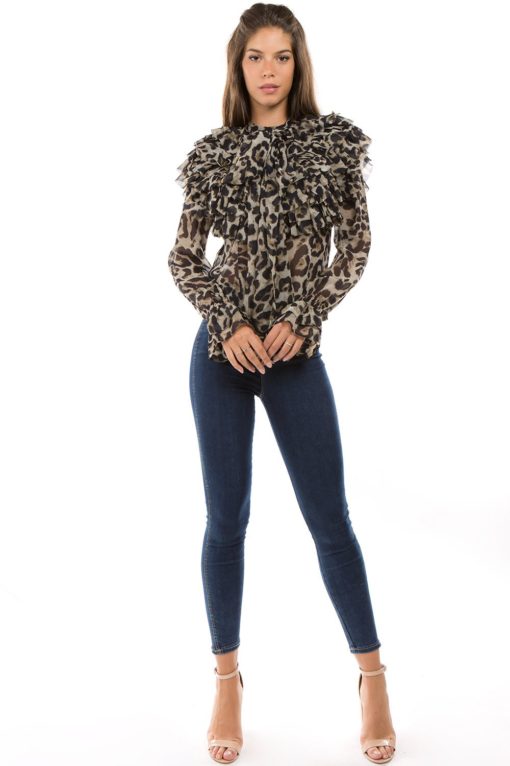 dd199abe03ff9 Leopard Print Layered Ruffle with Tie Neck Blouse -  TI044-F02 ...
