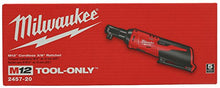 "Load image into Gallery viewer, Milwaukee 2457-20 M12 Cordless 3/8"" Sub-Compact 35 ft-Lbs 250 RPM Ratchet w/ Variable Speed Trigger (Battery Not Included, Power Tool Only)"