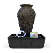 Load image into Gallery viewer, Medium Stacked Slate Urn Landscape Fountain Kit