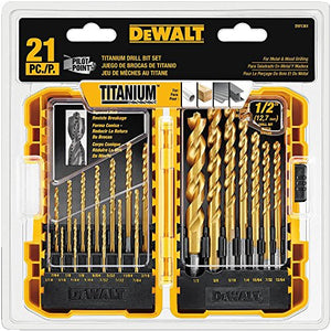 DEWALT DW1361 Titanium Pilot Point Drill Bit Set, 21-Piece