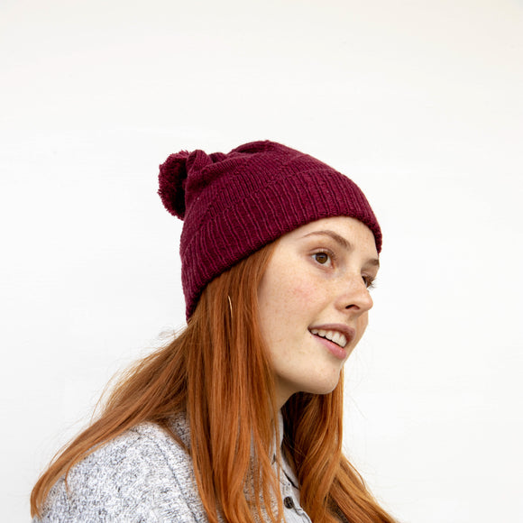 Merino Hat Pom Pom -Garnet red + Charcoal Grey - DISCOUNTED