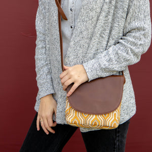 Navya Leather Crossbody - Yellow Batik
