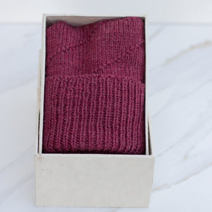 Merino Hat Pom Pom -Garnet red + Charcoal Grey