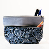 Chandee two zippered Cosmetic/ Pencil bag
