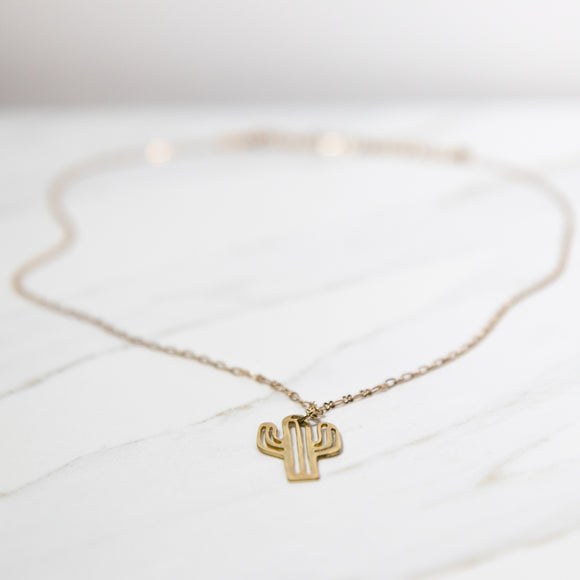 Cactus necklace - Silver and Gold