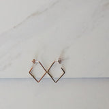 Rose Gold Square Hoop Earrings