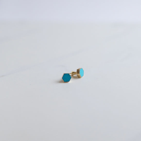 Natalie Turquoise Hexagon Stud Earrings