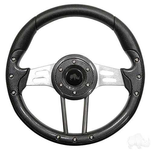 Steering Wheel, Aviator 4 Carbon Fiber Grip/Brushed Aluminum Spokes 13