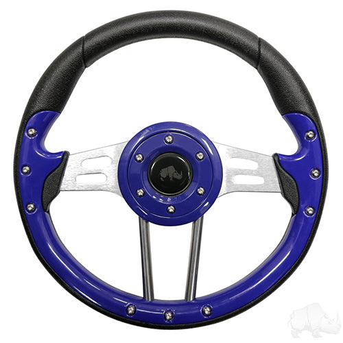 Steering Wheel, Aviator 4 Blue Grip/Brushed Aluminum Spokes 13