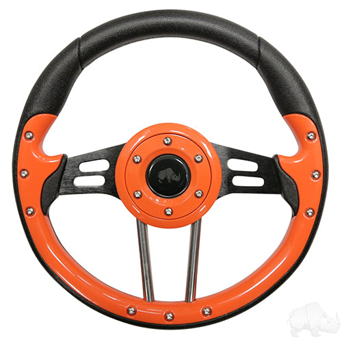 Steering Wheel, Aviator 4 Orange Grip/Black Spokes 13