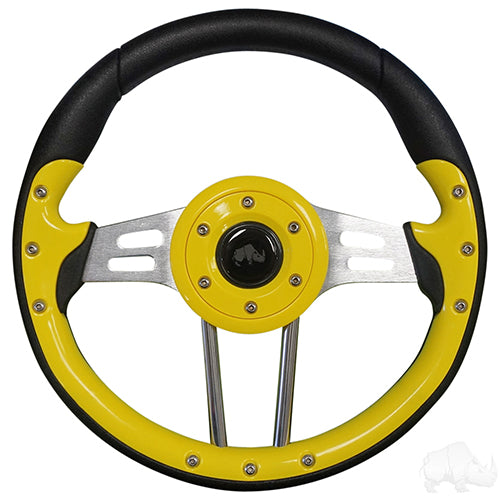 Steering Wheel, Aviator 4, Yellow Grip/Black Spokes, 13