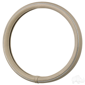 RHOX Steering Wheel Cover, Beige and Chrome