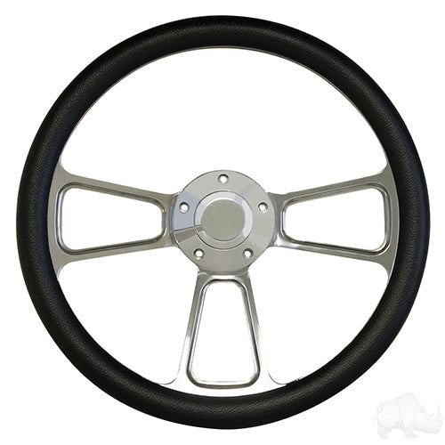 Steering Wheel, Half Wrap Black/Billet Aluminum 14