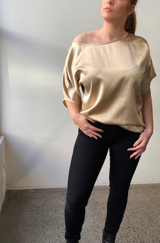 October Reign Luxe Silk Tee - Champagne