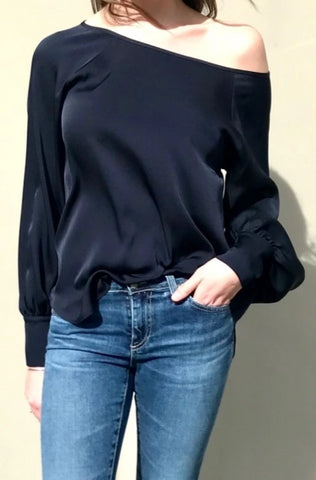 October Reign French Navy Queen B  Blouse