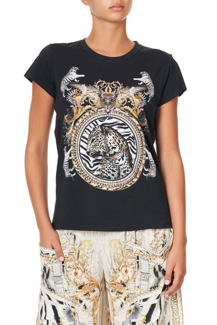 Camilla Slim Fit Round Neck T-Shirt Black - Gates of Glory