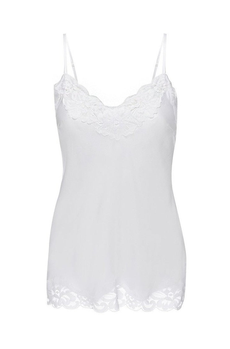 Gold Hawk Floral Lace Camisole - White