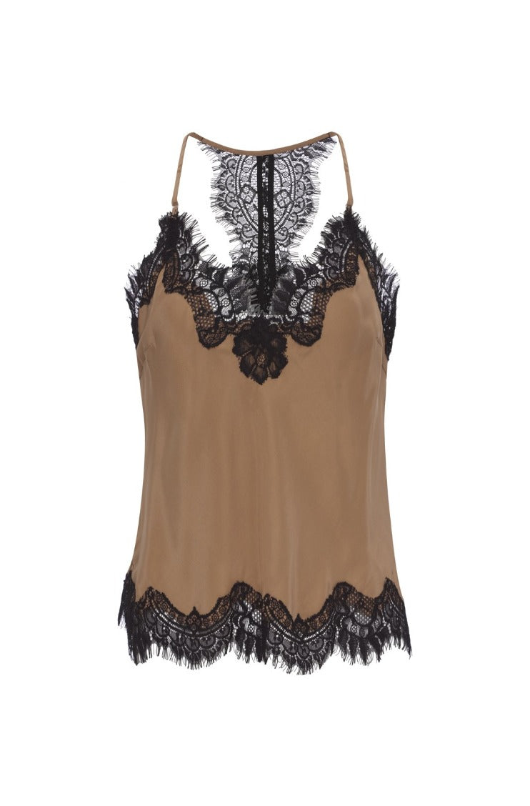 Gold Hawk Cropped Lace Camisole - Camel-Taupe / Black