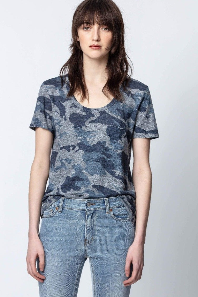 Zadig & Voltaire Awa Camo T-Shirt - Blueberry