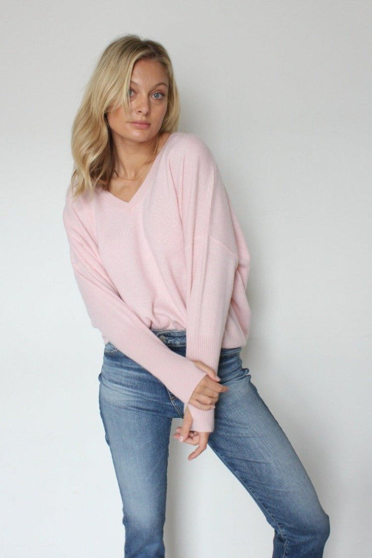 October Reign Chloe Cashmere Sweater - Petal Pink