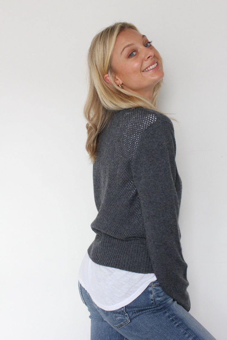 October Reign Loulou Cashmere Cardigan - Charcoal Grey