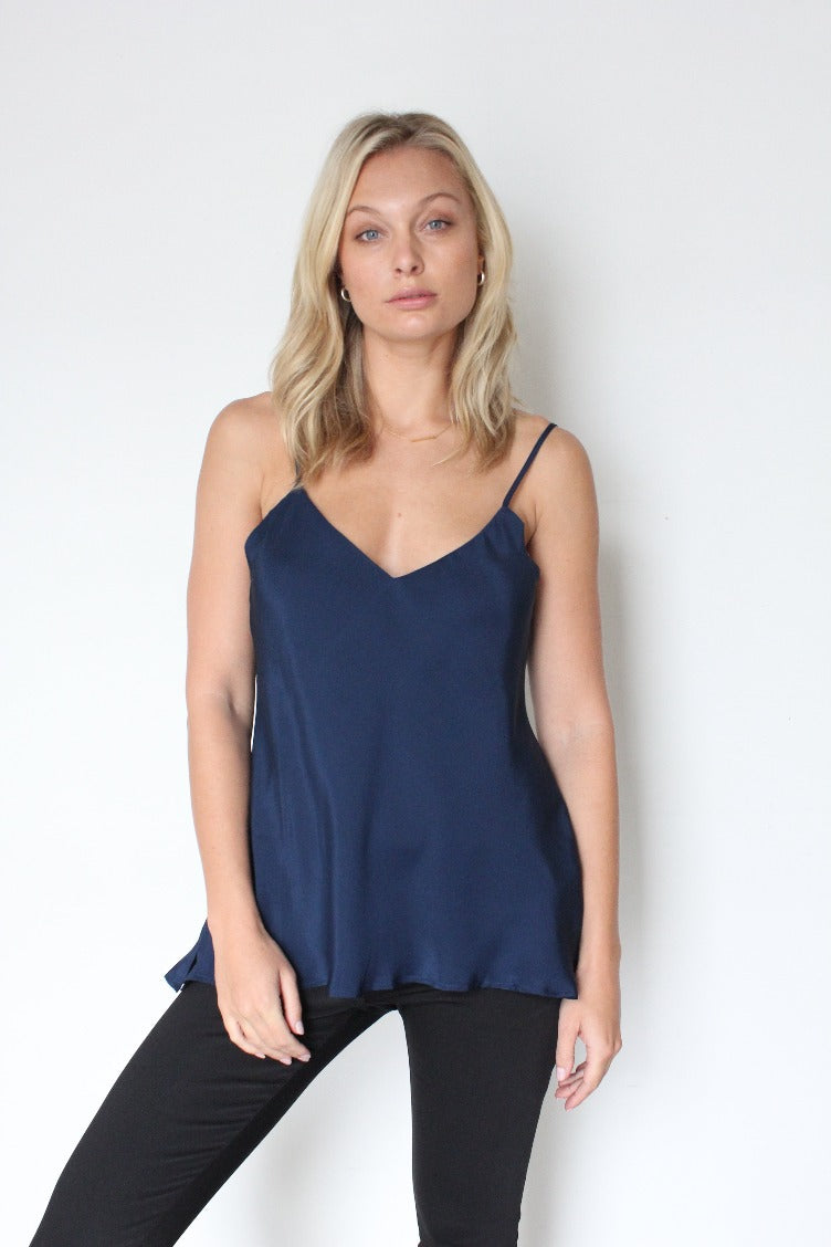 Gold Hawk Double Silk Solid Camisole - Navy