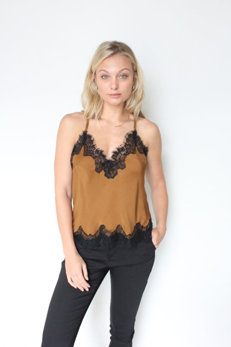 Gold Hawk Cropped Lace Camisole - Tobacco / Black