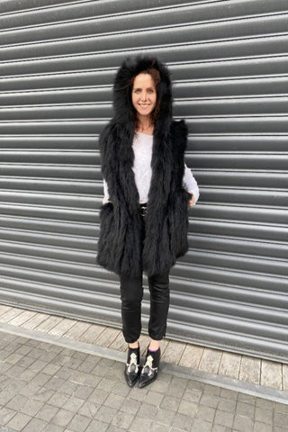 October Reign Long Fur Waistcoat - Black