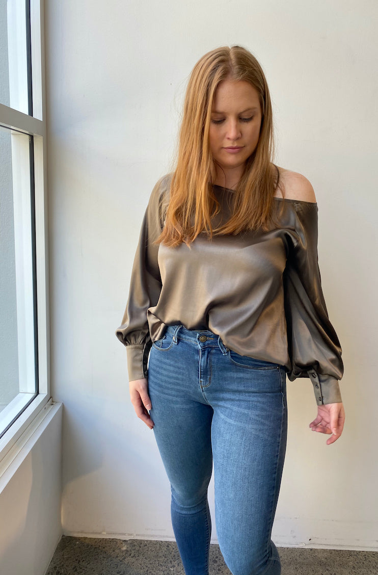 October Reign Queen B Blouse - Sage