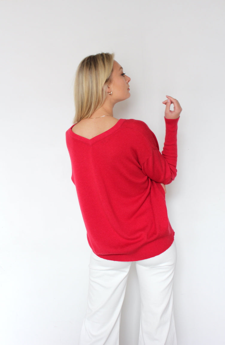 October Reign Double-V Cashmere Sweater - Red